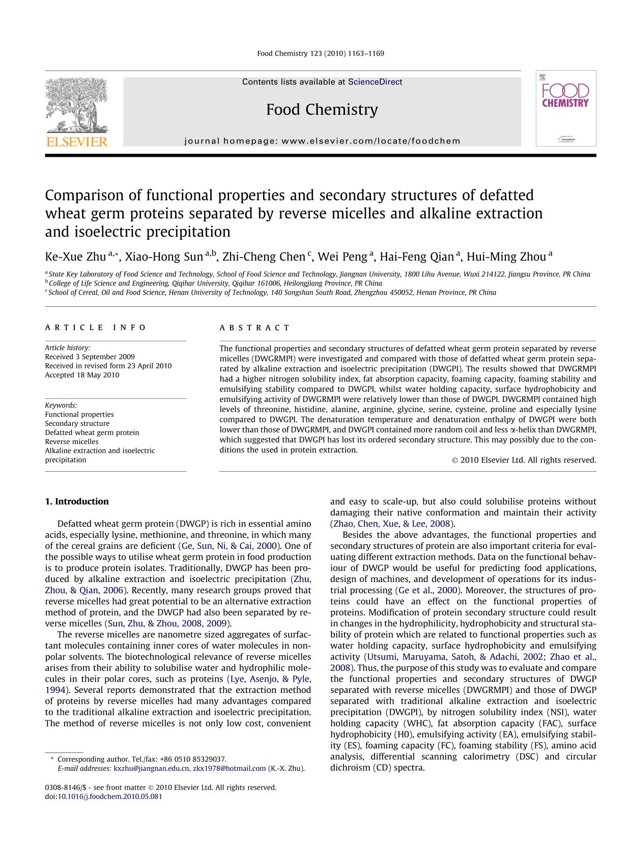 Copertina del libro Comparison of functional properties and secondary structures of defatted wheat germ proteins separated by reverse micelles and alkaline extraction and isoelectric precipitation