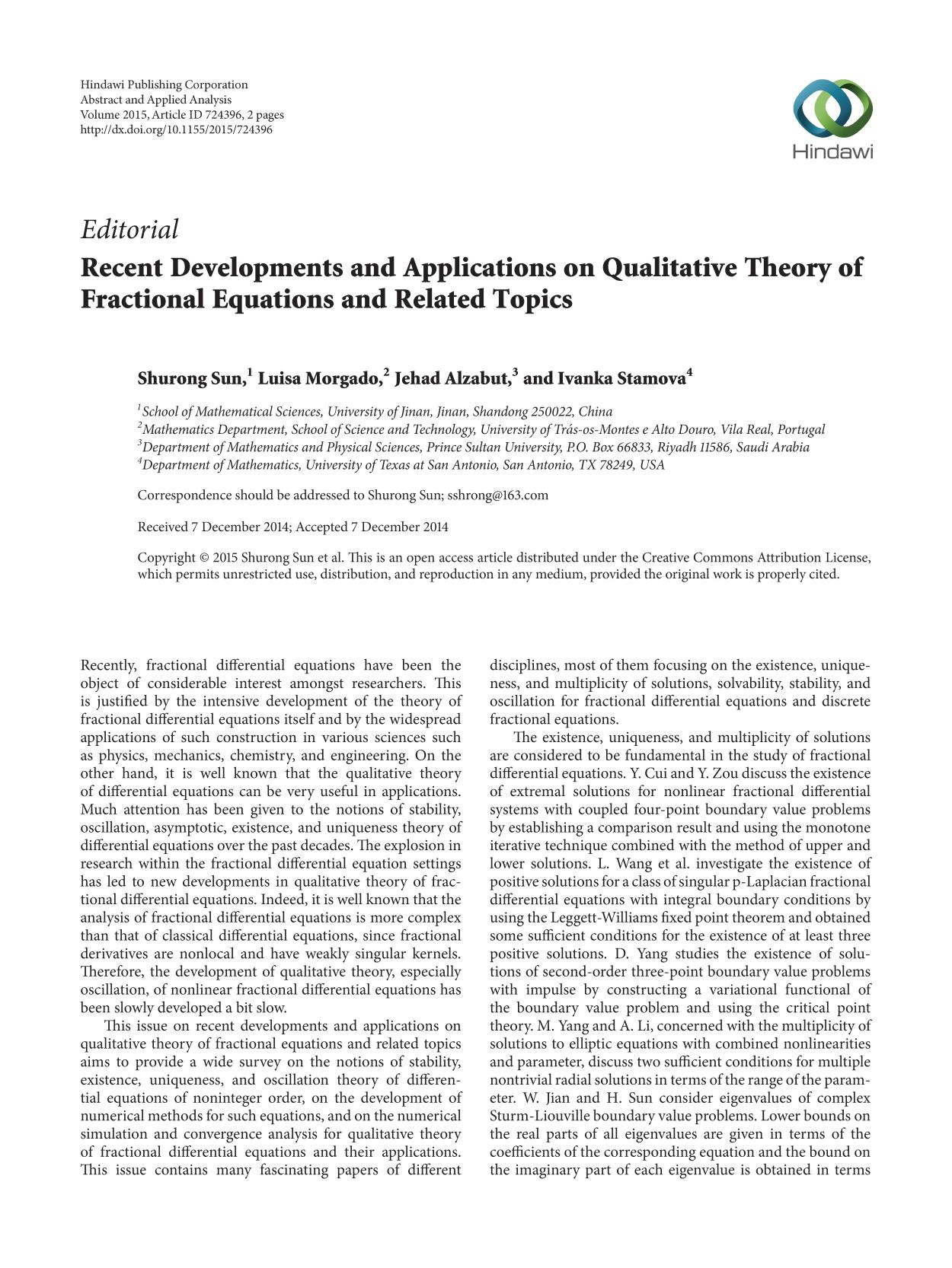 Εξώφυλλο βιβλίου Recent Developments and Applications on Qualitative Theory of Fractional Equations and Related Topics