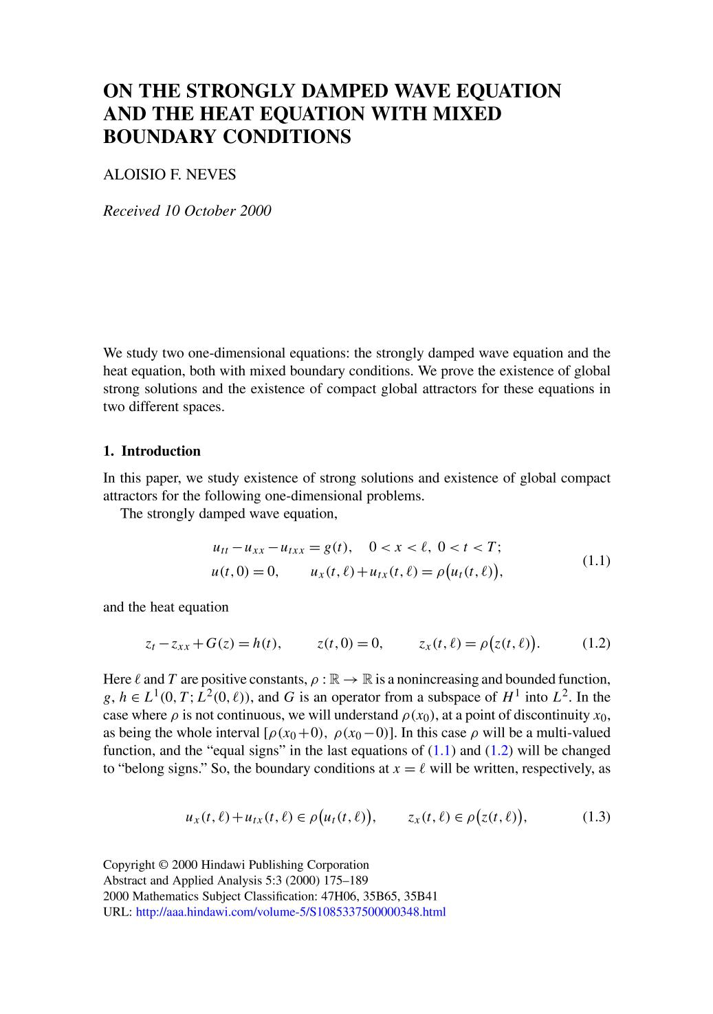 書籍の表紙 On the strongly damped wave equation and the heat equation with mixed boundary conditions
