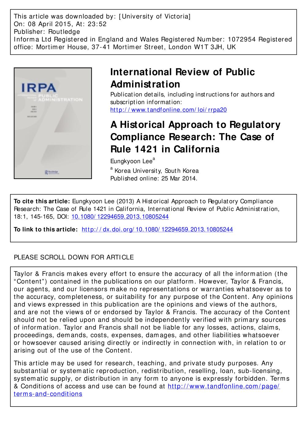 పుస్తక అట్ట A Historical Approach to Regulatory Compliance Research: The Case of Rule 1421 in California