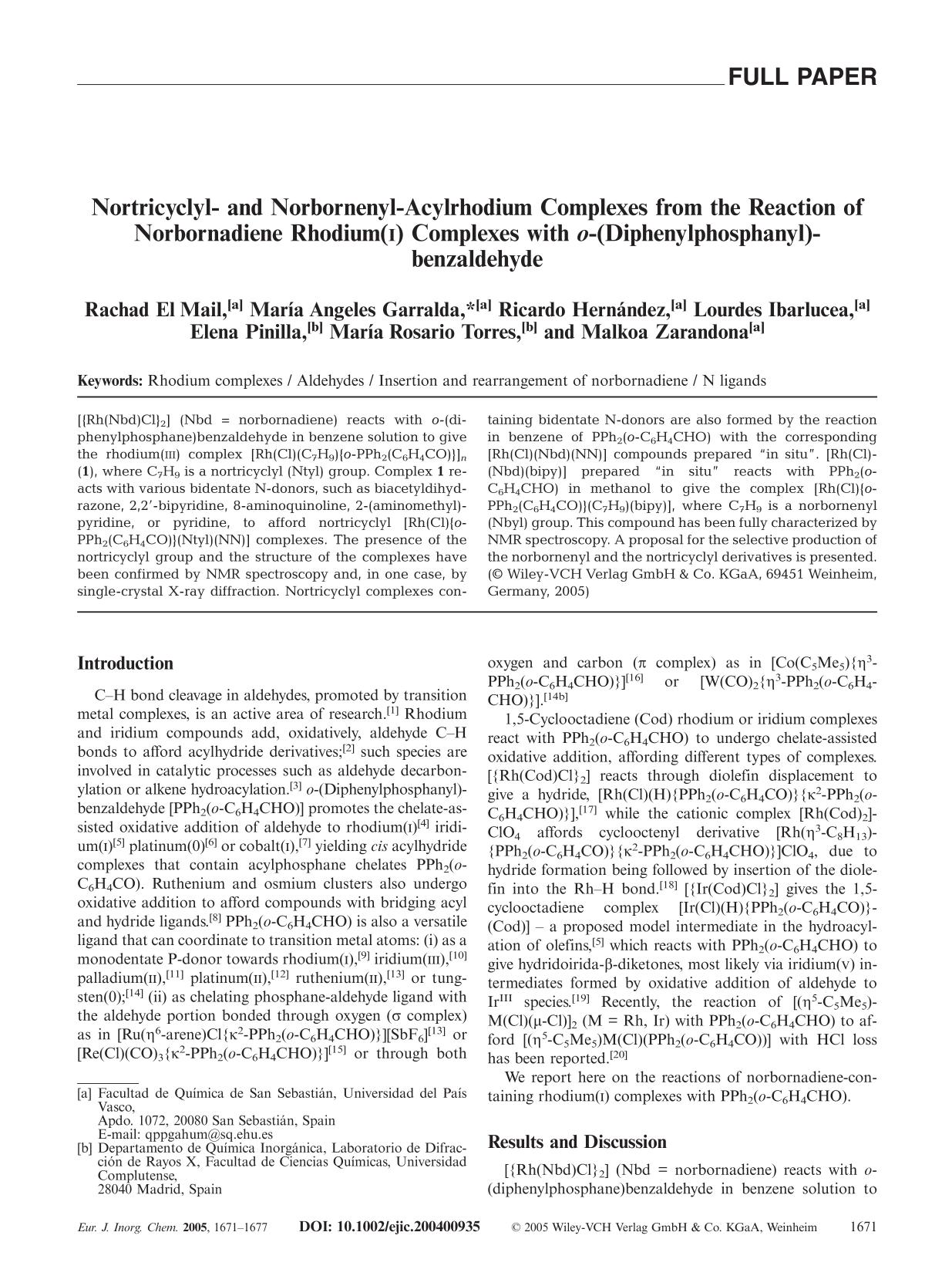 "Portada del libro Nortricyclyl- and Norbornenyl-Acylrhodium Complexes from the Reaction of Norbornadiene Rhodium(<span class=""smallCaps"">I</span>) Complexes with <em>o</em>-(Diphenylphosphanyl)benzaldehyde"