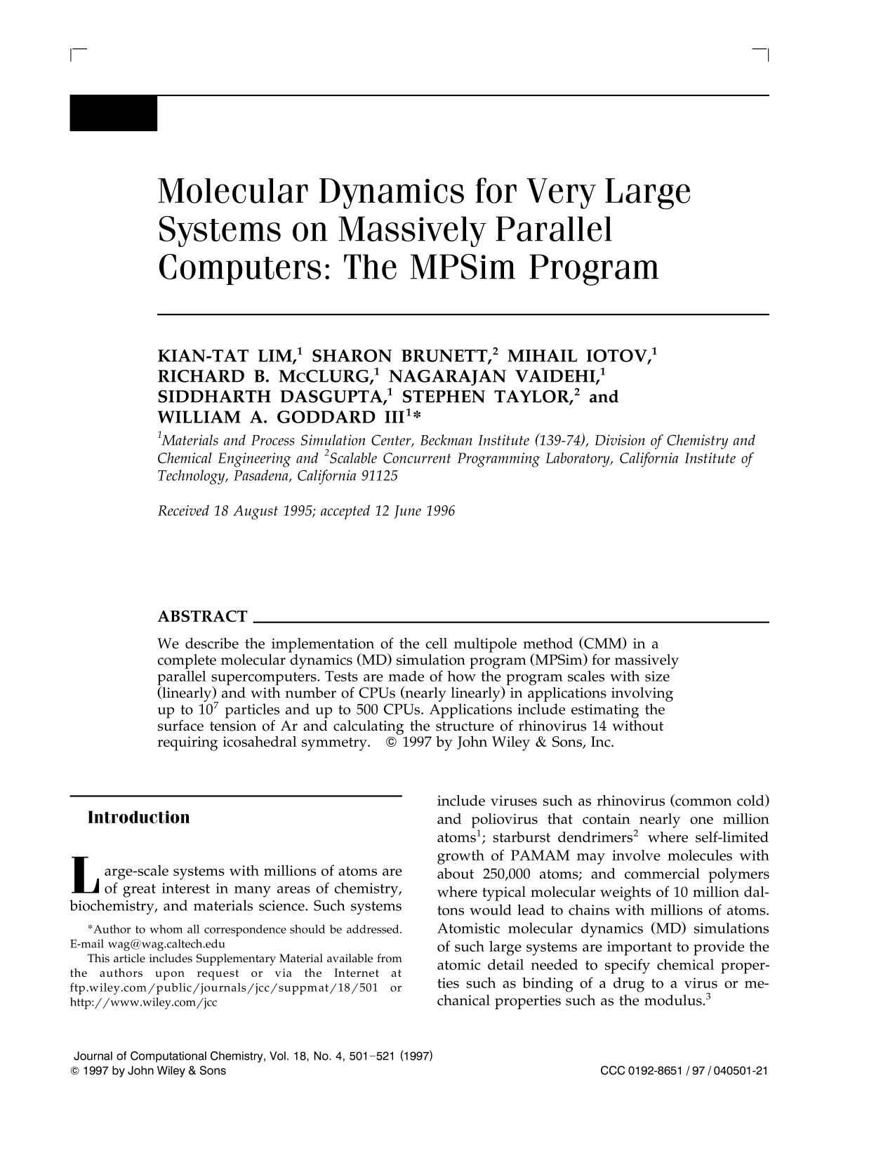 Portada del libro Molecular dynamics for very large systems on massively parallel computers: The MPSim program