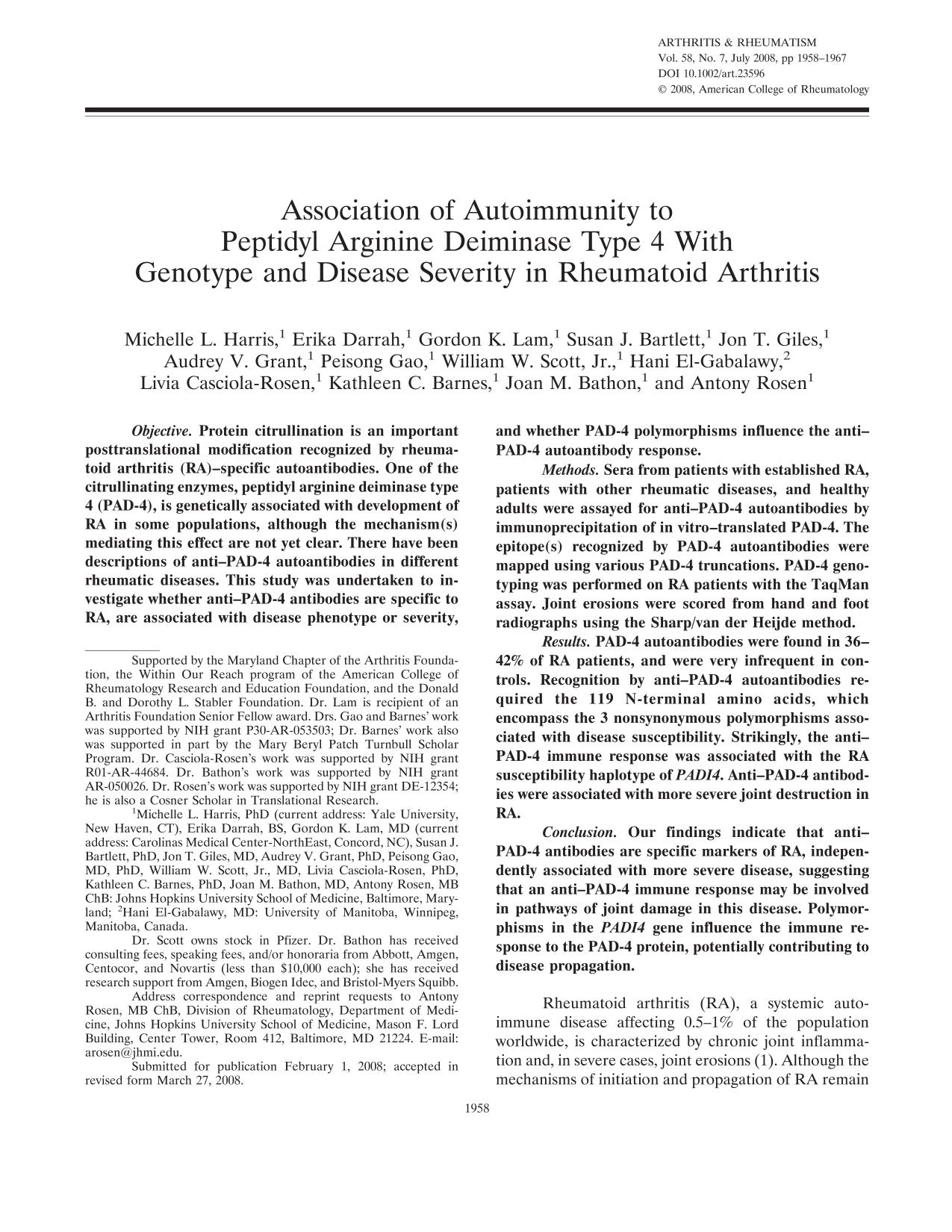 書籍の表紙 Association of autoimmunity to peptidyl arginine deiminase type 4 with genotype and disease severity in rheumatoid arthritis