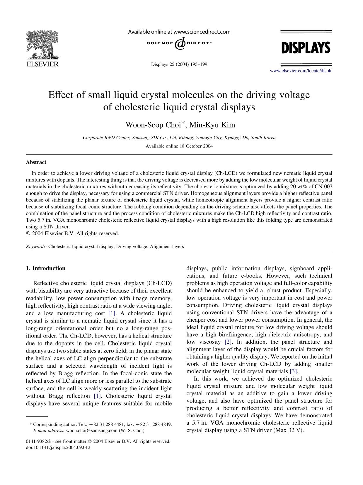 Kover buku Effect of small liquid crystal molecules on the driving voltage of cholesteric liquid crystal displays
