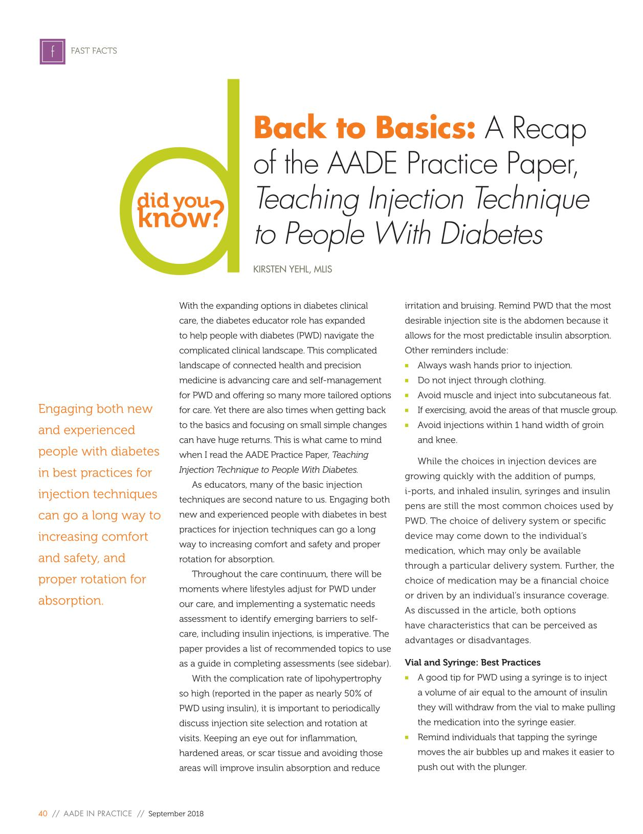 Book cover Back to Basics: A Recap of the AADE Practice Paper, Teaching Injection Technique to People With Diabetes