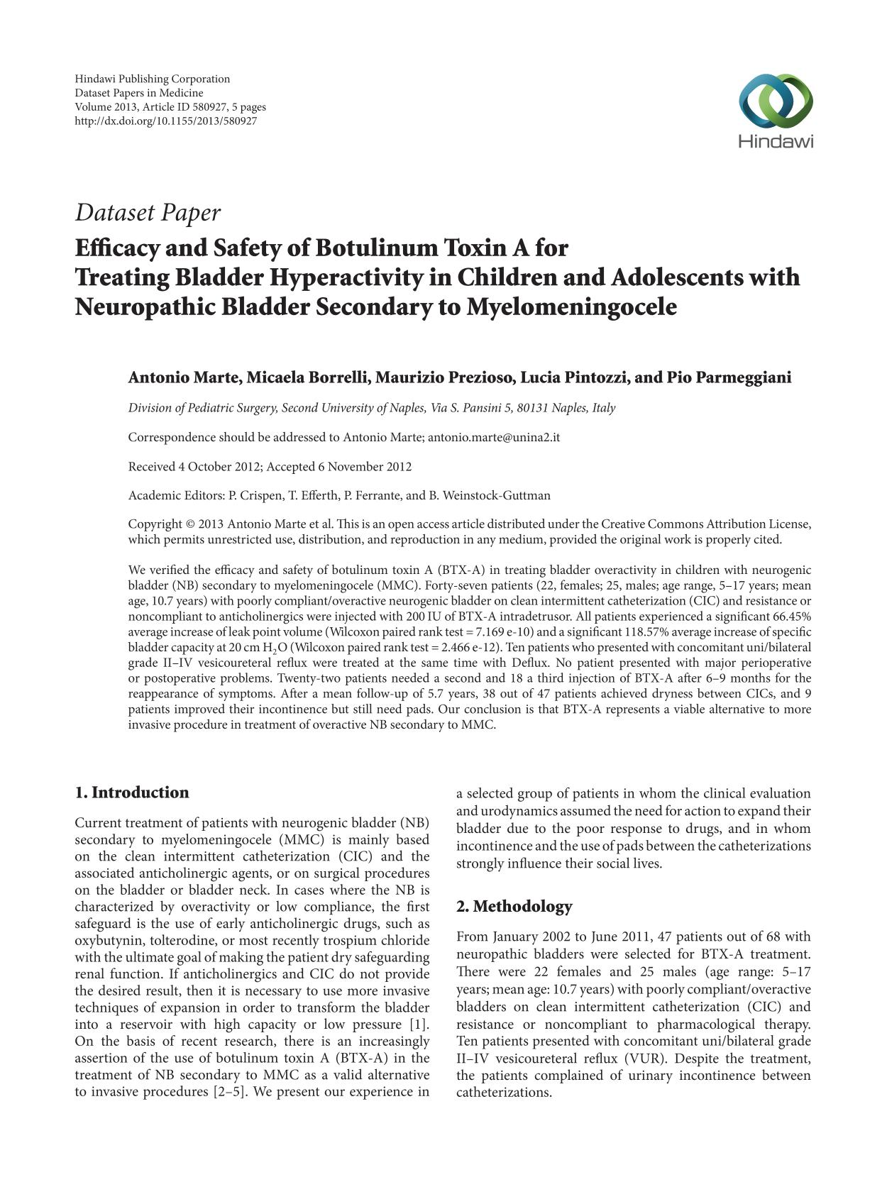 বইয়ের কভার Efficacy and Safety of Botulinum Toxin A for Treating Bladder Hyperactivity in Children and Adolescents with Neuropathic Bladder Secondary to Myelomeningocele