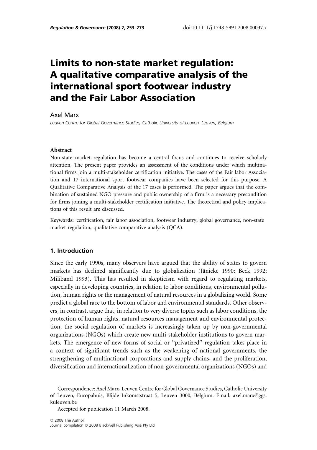 Kitap kapağı Limits to non-state market regulation: A qualitative comparative analysis of the international sport footwear industry and the Fair Labor Association