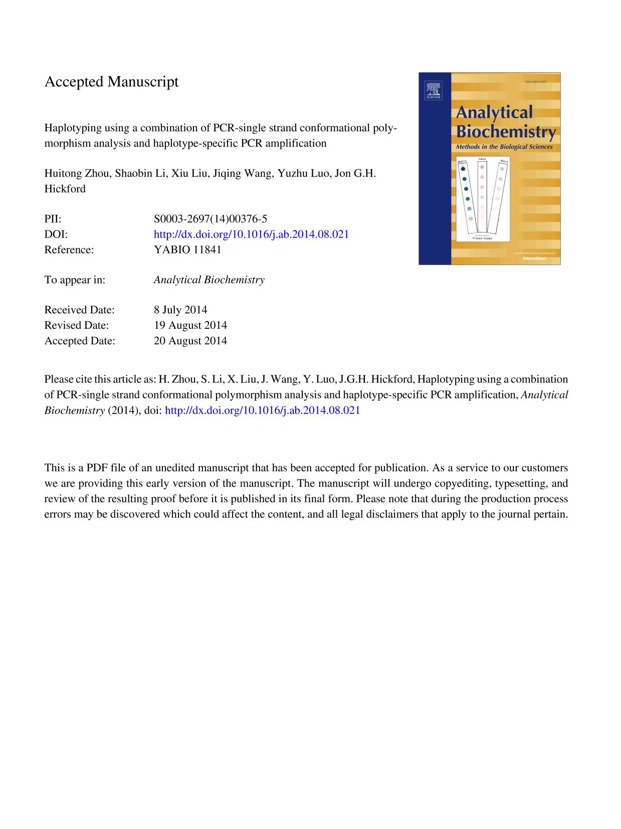 Portada del libro Haplotyping using a combination of polymerase chain reaction–single-strand conformational polymorphism analysis and haplotype-specific PCR amplification