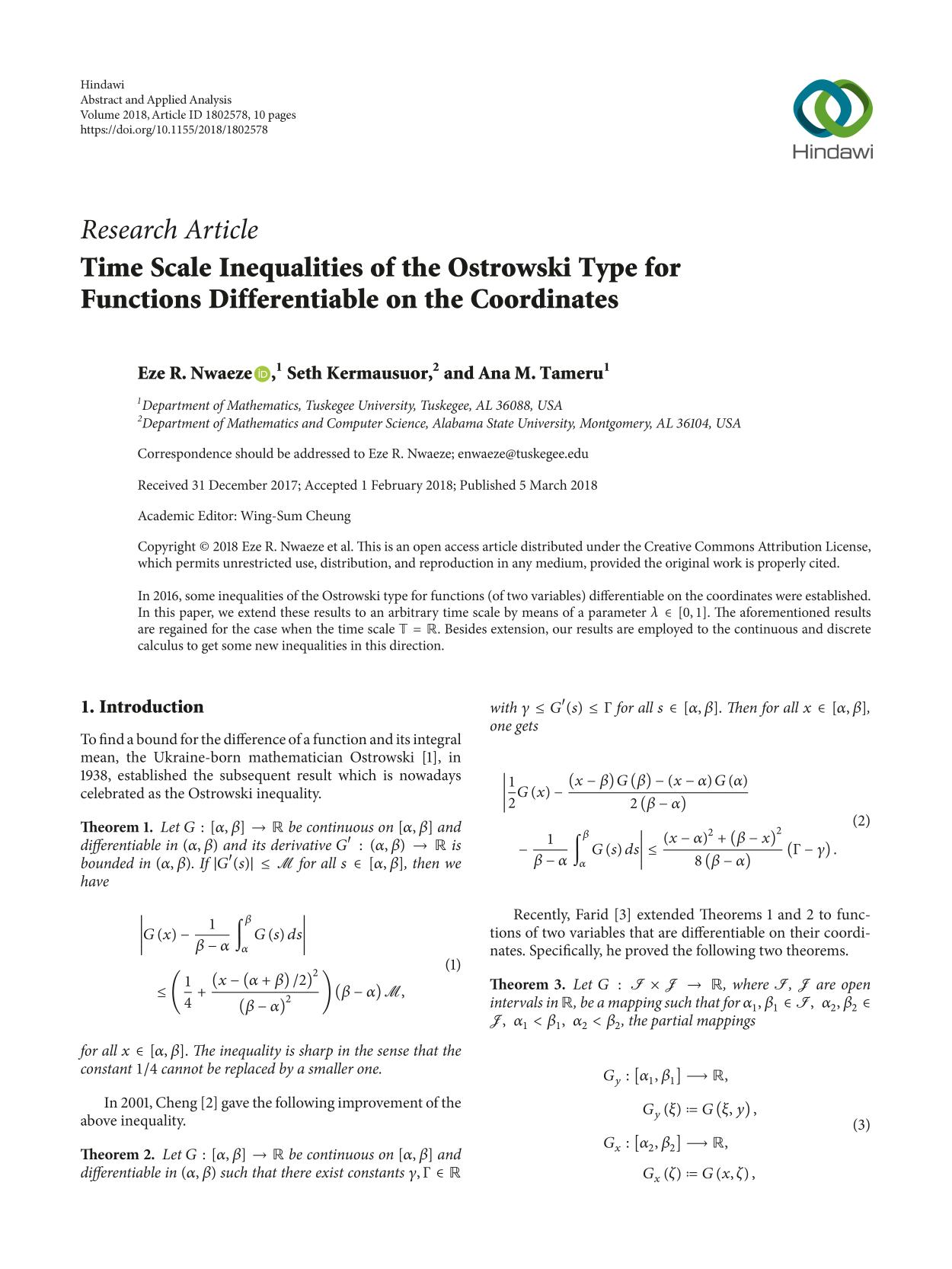 पुस्तक आवरण Time Scale Inequalities of the Ostrowski Type for Functions Differentiable on the Coordinates