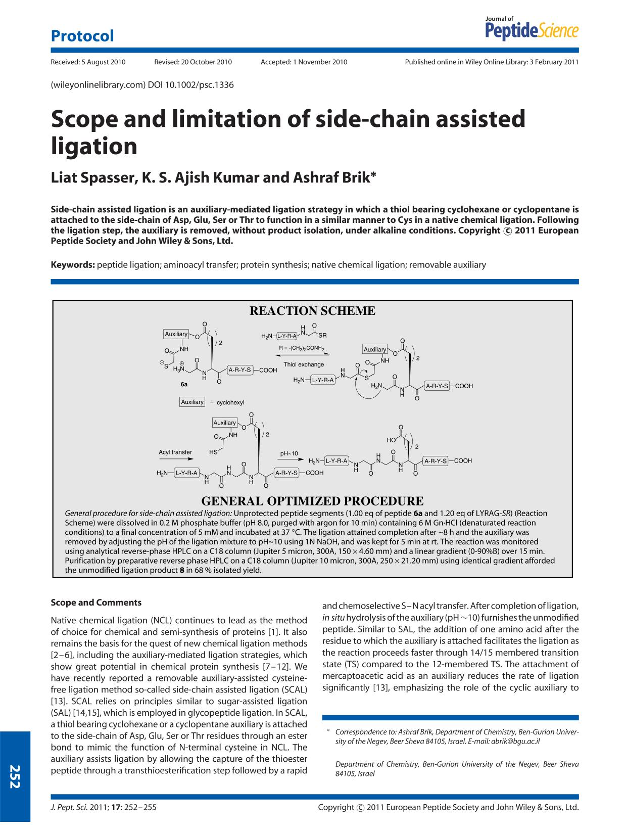 Portada del libro Scope and limitation of side-chain assisted ligation