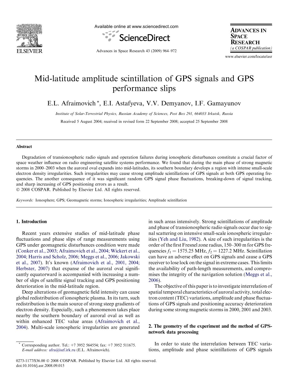 Обложка книги Mid-latitude amplitude scintillation of GPS signals and GPS performance slips