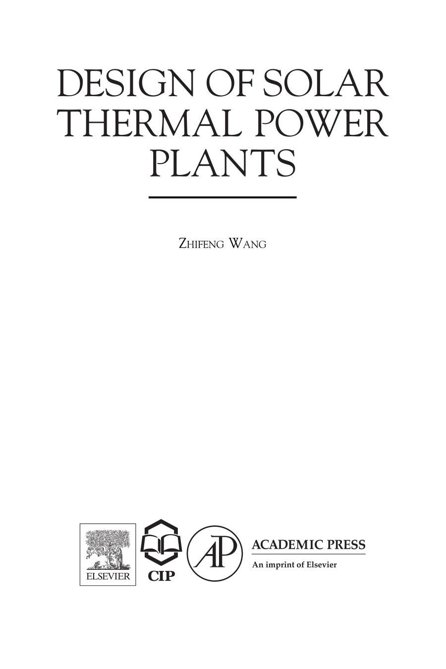 Book cover Design of Solar Thermal Power Plants 1st Edition 2019