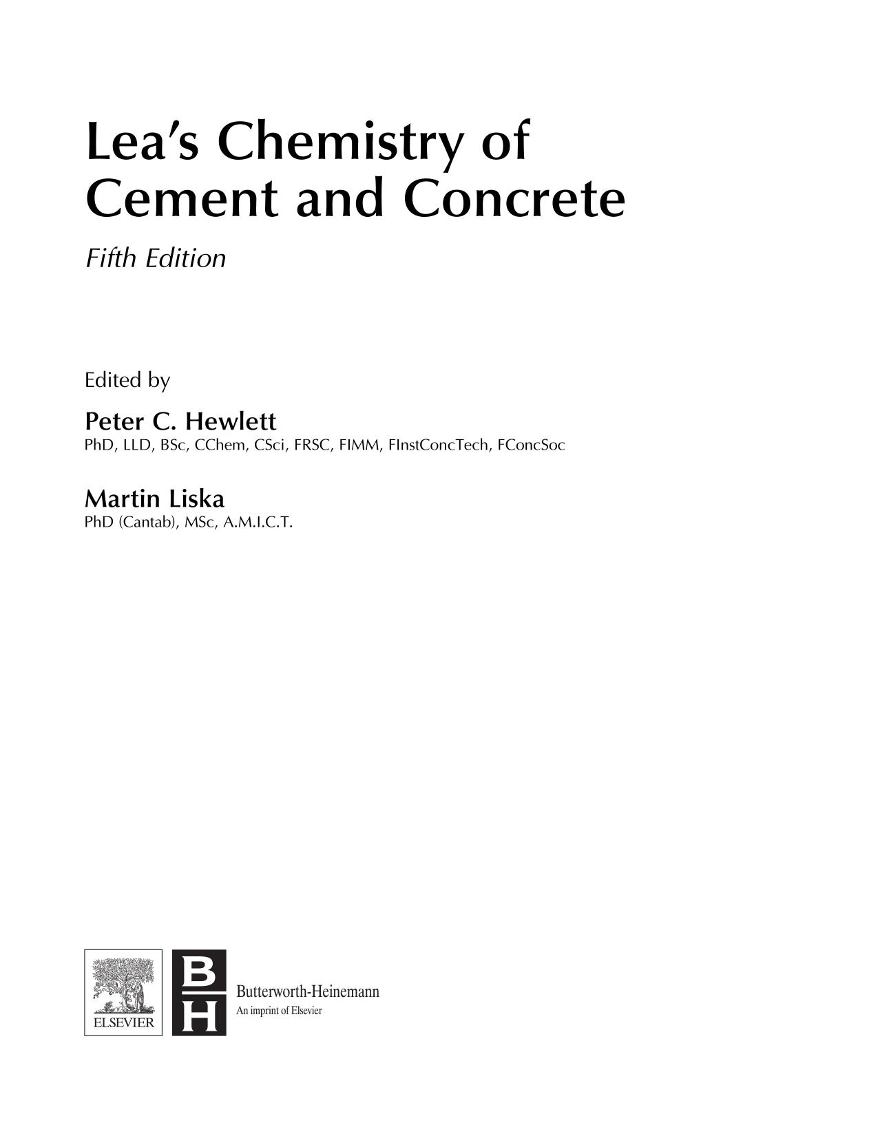 Okładka książki Lea's Chemistry of Cement and Concrete 5th Edition 2019