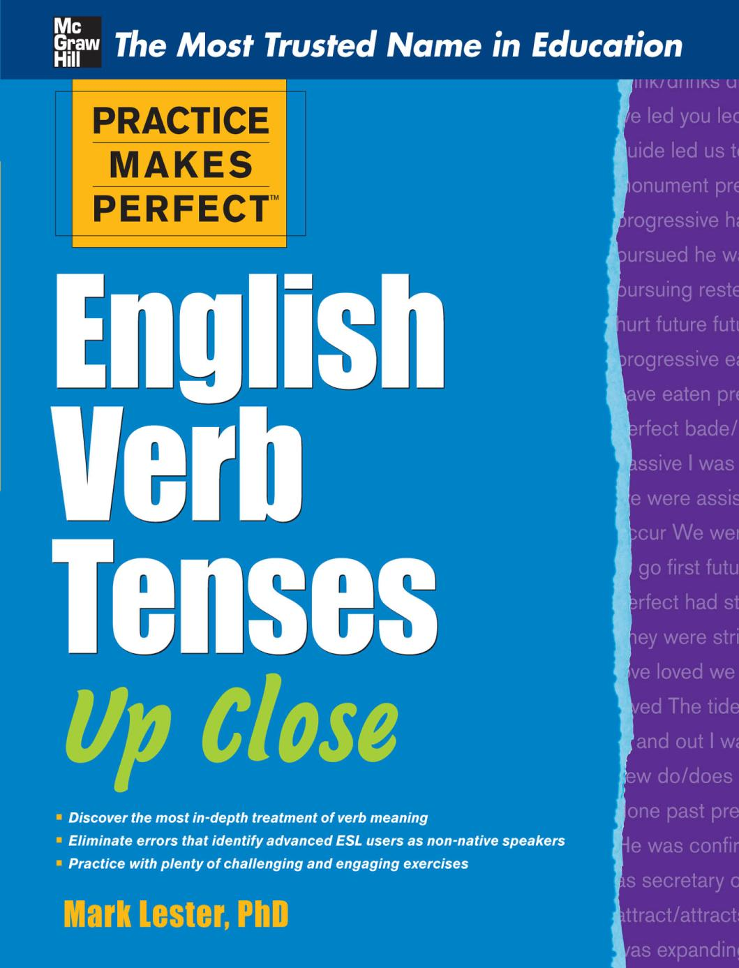 Book cover Practice Makes Perfect English Verb Tenses Up Close